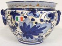 イタリア製 プランター(ブルー×ホワイト)